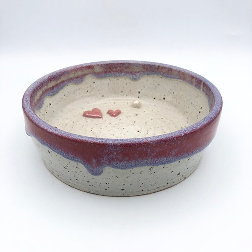 Hearts and Pearls Dog Bowl