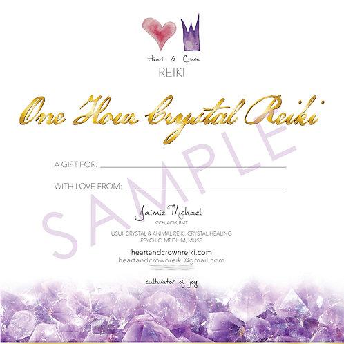 Crystal Reiki Gift Certificate