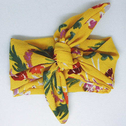 Mustard Yellow Floral Hair Scarf