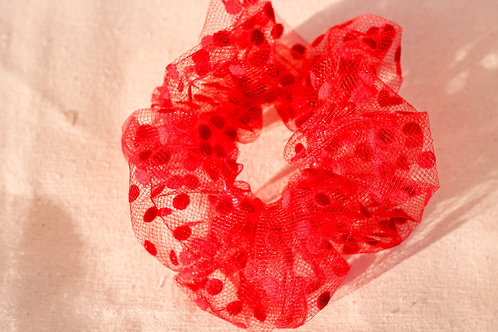 Red Dotted Oversized Scrunchie