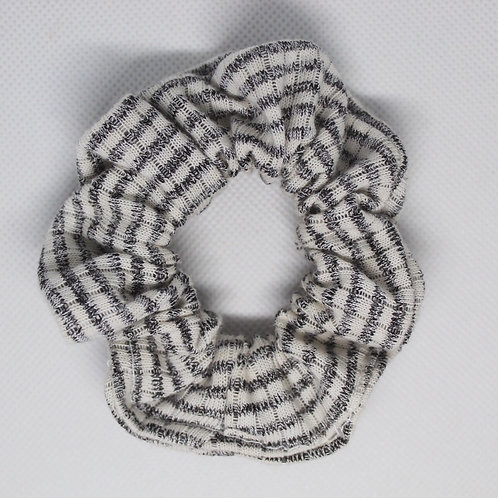 Heather Grey & White Striped Scrunchie