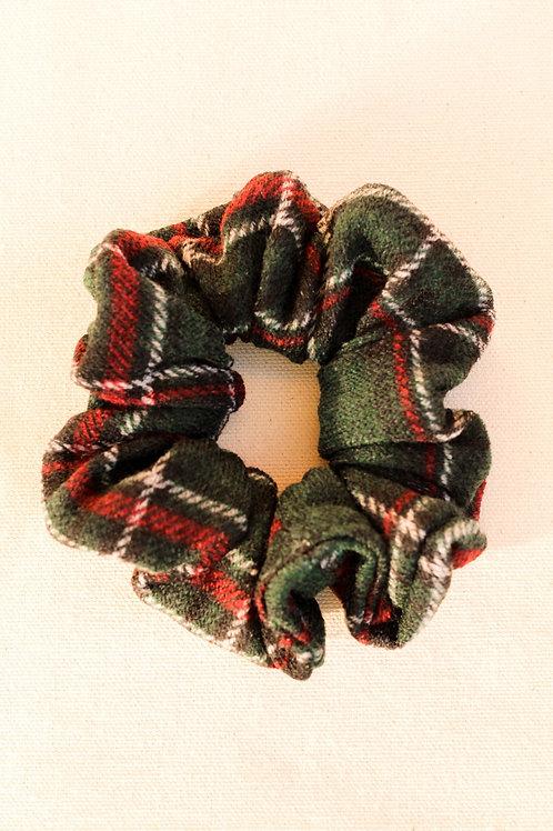 Dark Green Knit Plaid Scrunchie