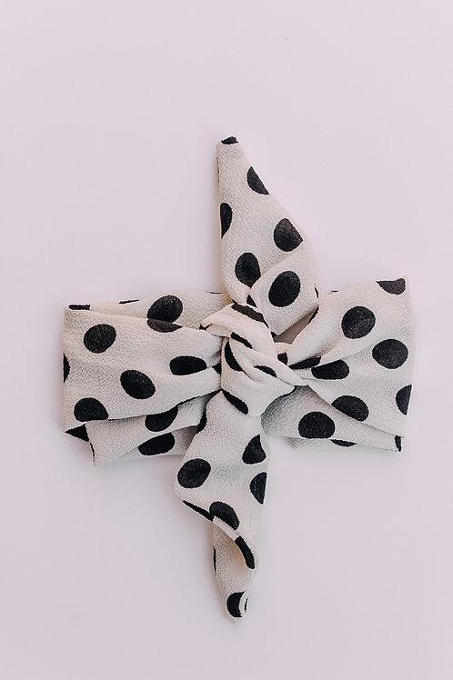 White & Black Polka Dot Hair Scarf