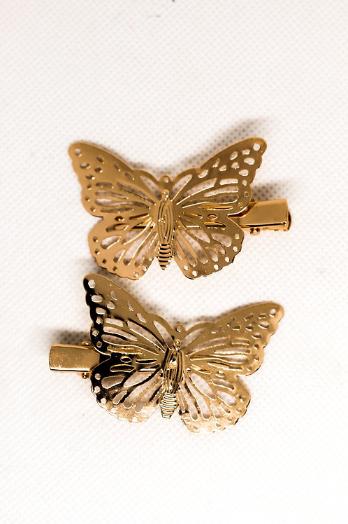 Gold Butterfly Clip Duo