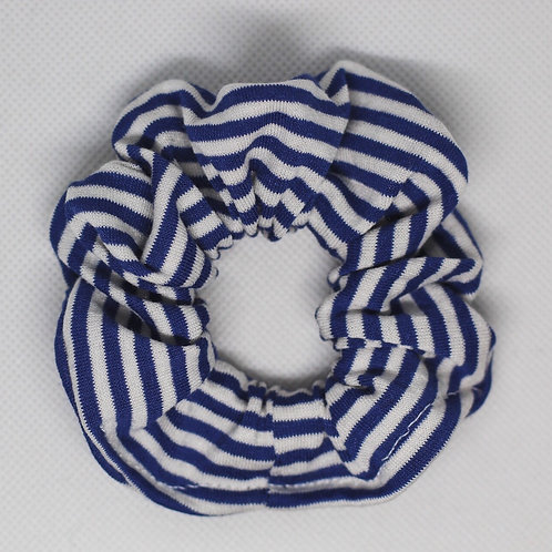 Denim Blue and White Striped Scrunchie