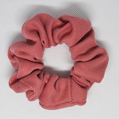 Rose Pink Ribbed Scrunchie
