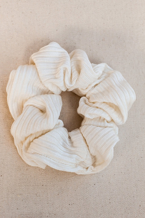 Ivory Ribbed Knit Scrunchie