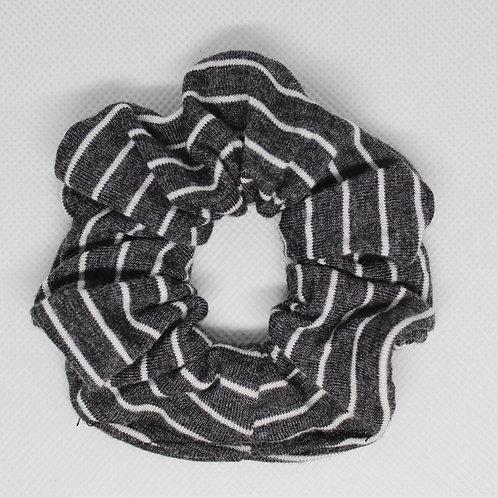 Heather Grey & White Striped Scrunchie