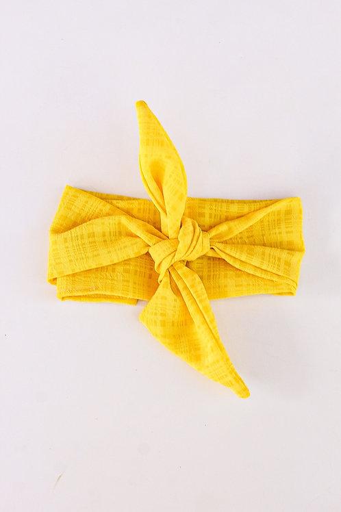 Lemon Yellow Grid Hair Scarf
