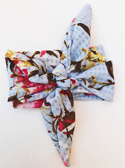 Baby Blue Branch Floral Hair Scarf