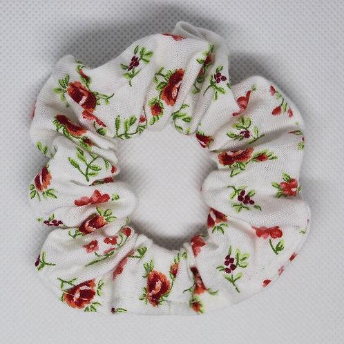 White Rose Floral Scrunchie