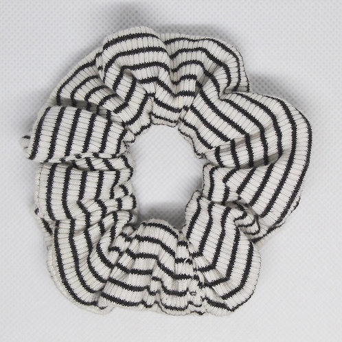 White & Black Mini Striped Scrunchie