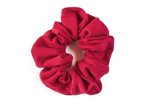 Rosy Red Suede Scrunchie