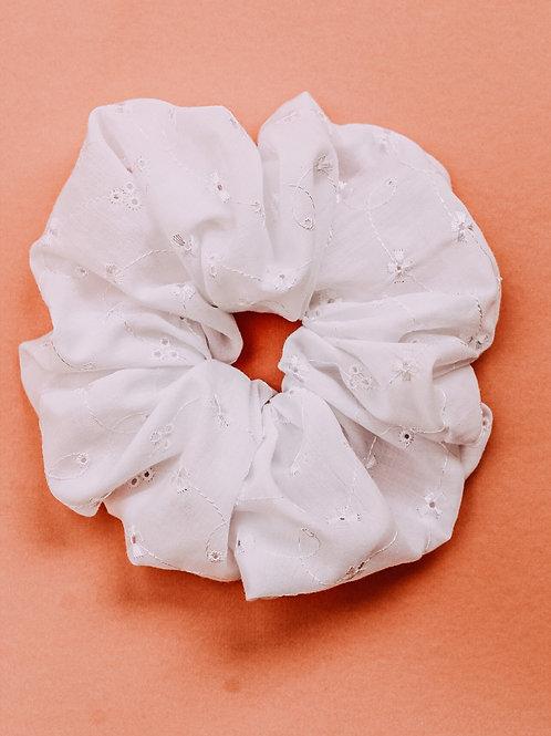White Eyelet OverSized Scrunchie