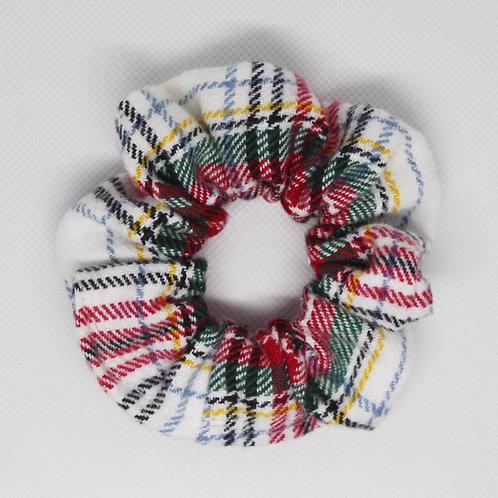 White-Multi Plaid Scrunchie