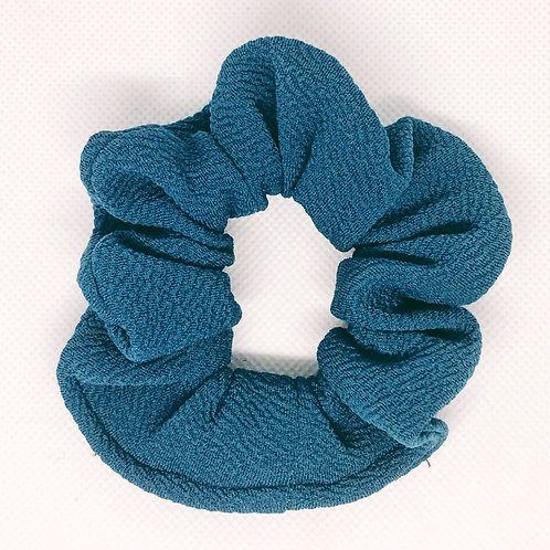 Solid Peacock Teal Textured Scrunchie