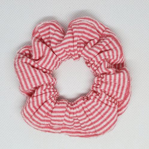 Peachy Pink & White Mini Striped Scrunchie