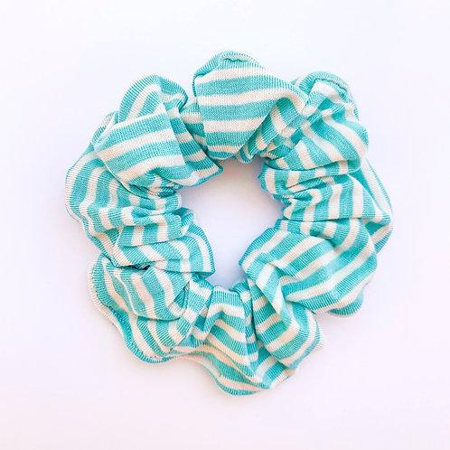 Tiffany Teal Blue Striped Scrunchie