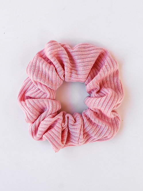 Ribbed Knit Taffy Pink Scrunchie