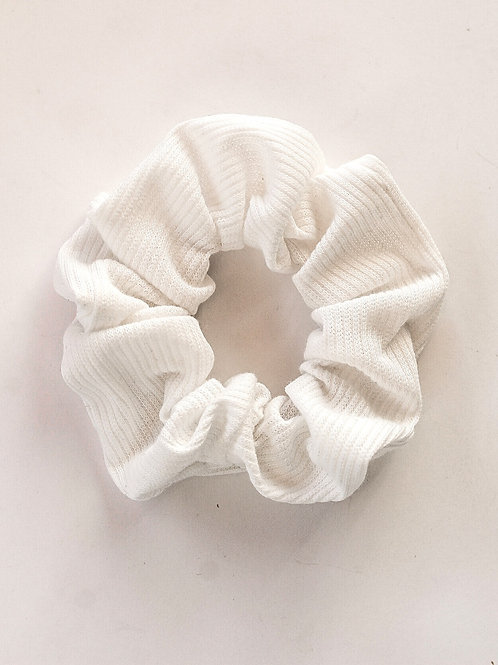 Solid White Ribbed Scrunchie