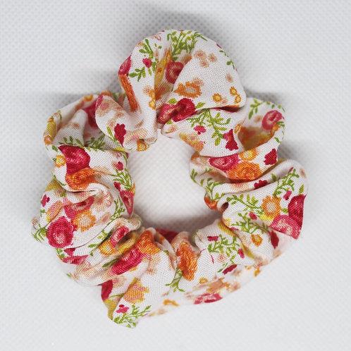 Peachy Floral Scrunchie
