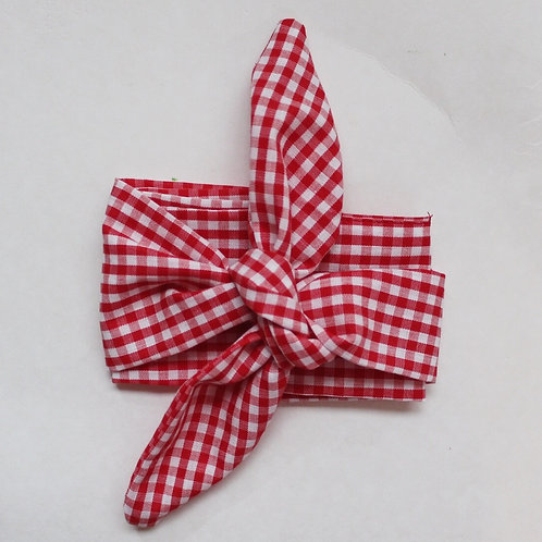 Red Gingham Hair Scarf