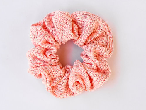 Ribbed Knit Peachy Coral Scrunchie