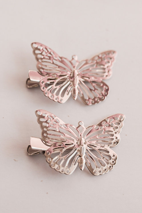 Silver Butterfly Clip Duo