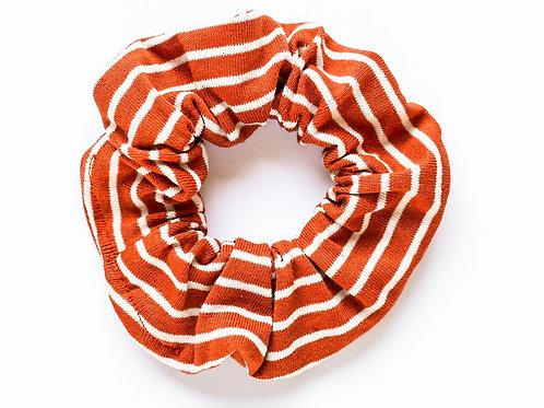 Burnt Orange & White Striped Scrunchie