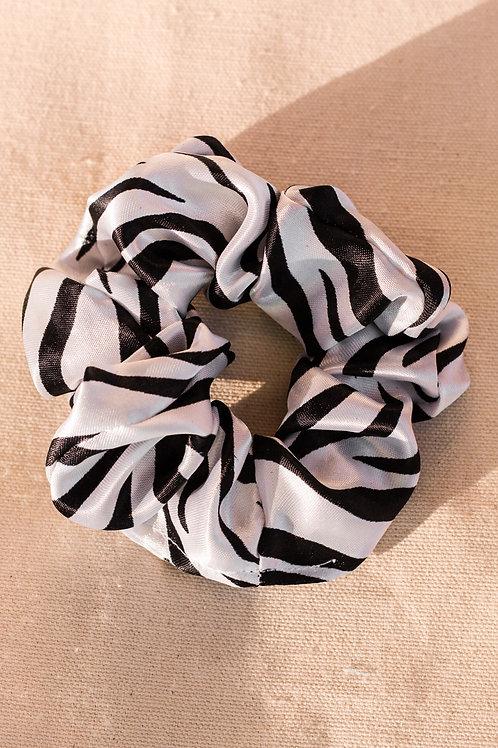 Zebra Satin Silk Scrunchie