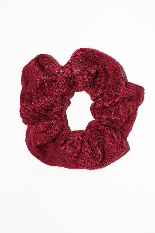 Burgundy Sweater Rib Striped Scrunchie