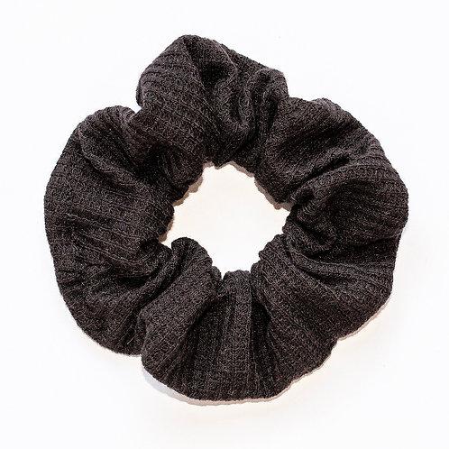 Solid Black Waffle Knit Scrunchie