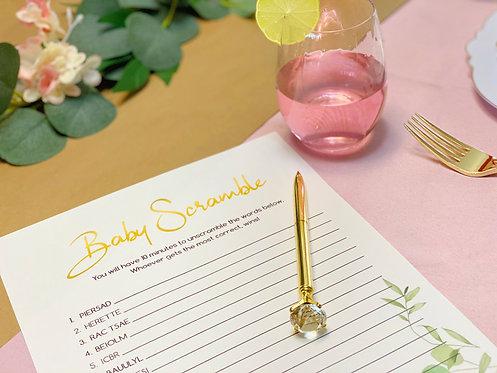 Botanical Baby Shower Game Bundle-7 pack (Printables- Digital File)