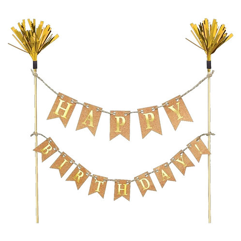 """Happy Birthday"" Mini cake banner with picks"