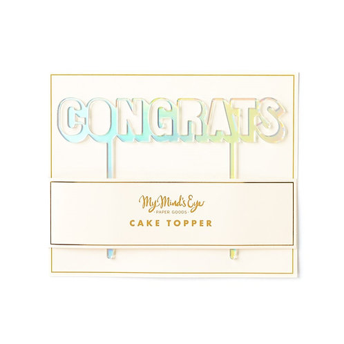 Congrats Cake Topper- Holographic