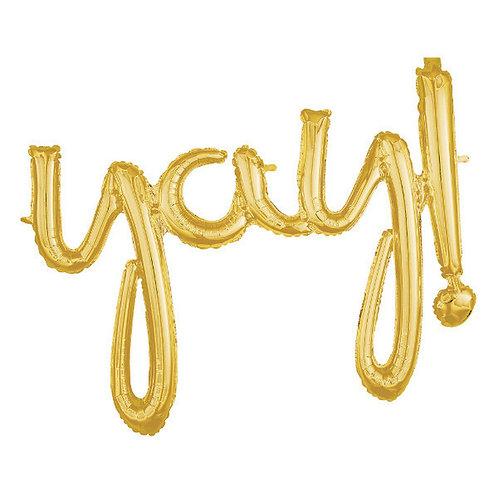 YAY Gold Script Balloon