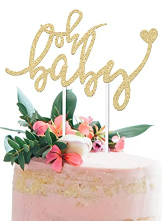 Oh Baby Cake Topper Gold