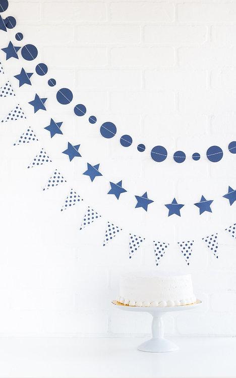 Navy Blue Mini Banner Set