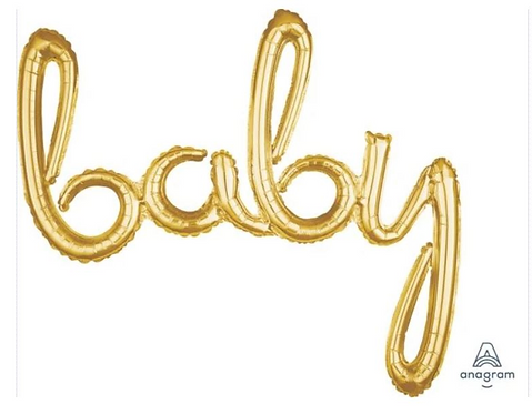Baby Foil Script Balloon Gold