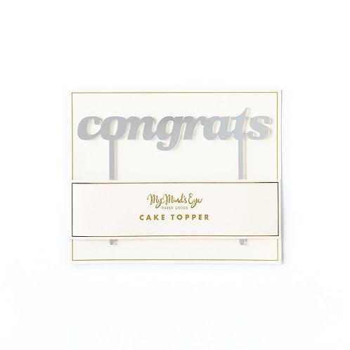 Congrats Cake Topper- Silver Mirror