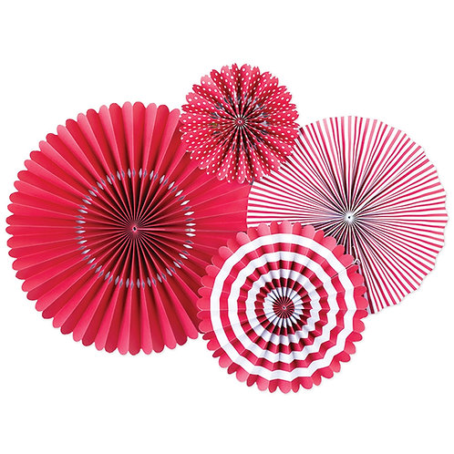 Cherry Red Paper Party Fans