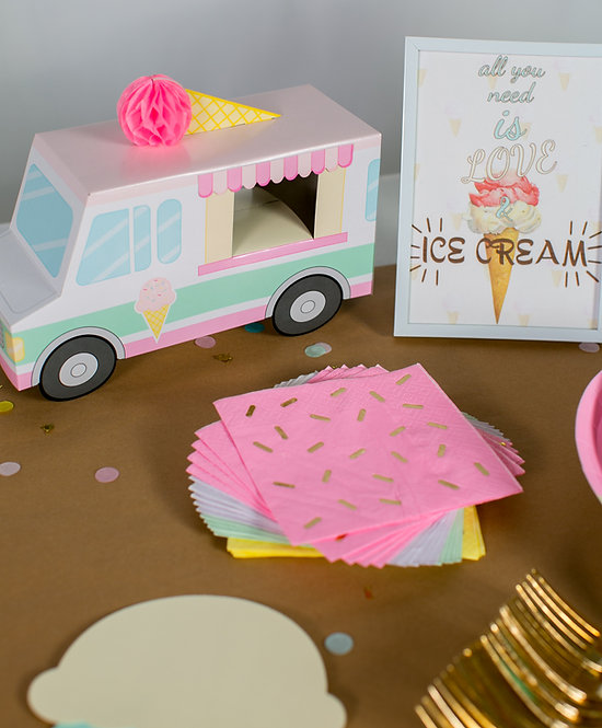 """Ice Cream Party Box """"PARTY TIME"""" Size"""