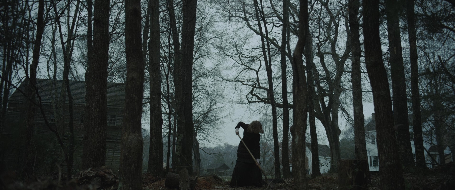 A girl in a black dress, surrounded by tall, black trees, digging a hole.