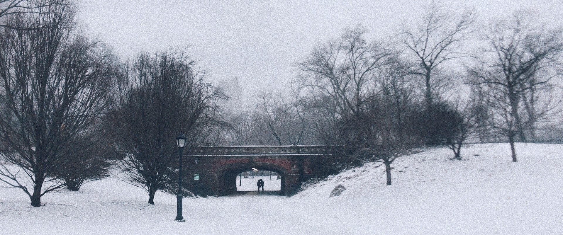Two lovers holding hands, walking under a bridge in central park.