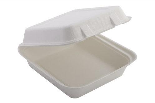Bagasse 8 x 8 White hinged box