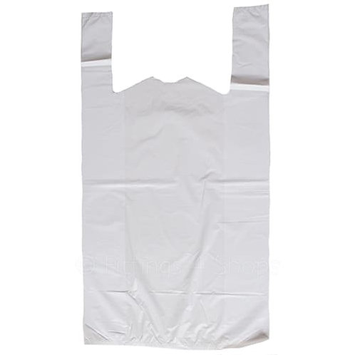 9 x 14 x 18 White Vest Carrier Bags 15mu Pk 2,000