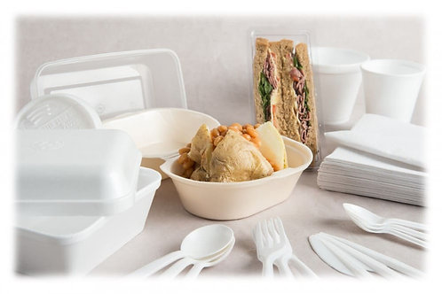 FOOD CONTAINERS & LIDS WHITE POLYSTYRENE