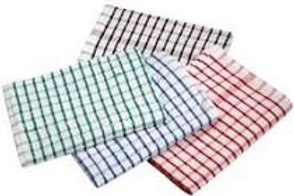 """17"""" Cotton Tea Towels Checked Mixed Colours"""