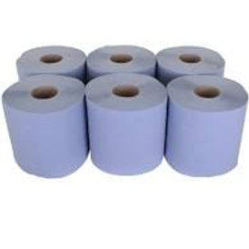 2ply Blue Std Centre Feed 150mtr Embossed CBL150SE