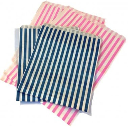 Striped Blue & Pink Bleached Kraft Paper Bags